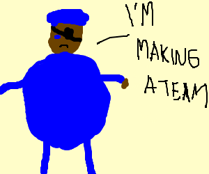 Nick Fury dressed as a blueberry w/ hat.