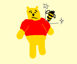 pooh bear being stung by a bee