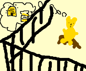 Winni the Pooh in jail dreaming of honey