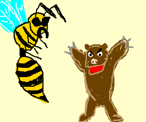 Giant hornet fighting Grittzy-Pig