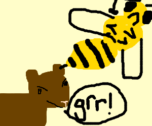 Giant wasp about to sting an angry bear