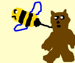 A Giant Sad Bee Stinging a Bear