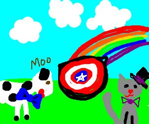 Clothed animals worship rainbow shield