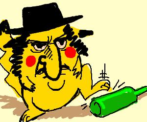 Jewish Pikachu steps on bottle