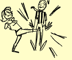 Arm-less Woman kicks ref in the nuts.