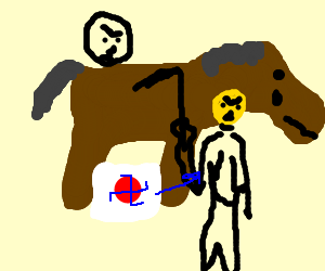 Floaty face and nazi japan attack horse
