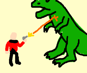 Captain Picard challenges T-Rex
