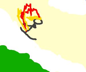 flaming woman skiing down a mountain