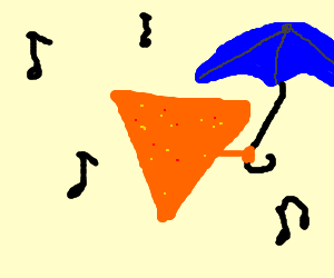 Dorito holding umbrella in rain w/ music
