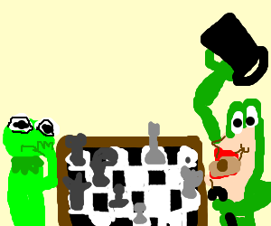 Two frogs play chess.