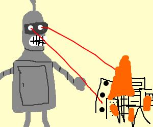 Bender destroys city with laser beams