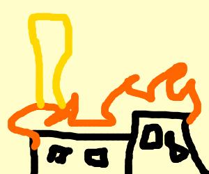 Giant Fry burning city