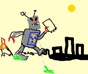 Giant Killer Robot destroys the city