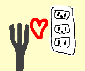 Fork has a crush on electrical socket
