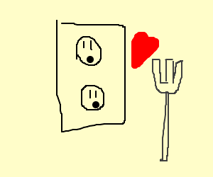 Fork caresses surprised wall outlet.