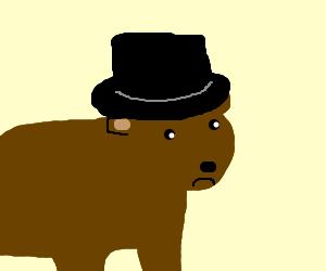 Sad bear with a top hat