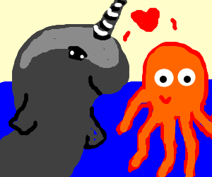 gray narwal in love with orange octopus