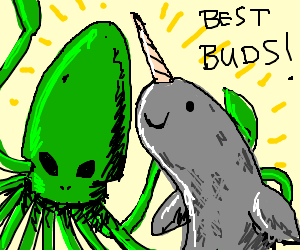 Alien squid + narwhal get on swimmingly.