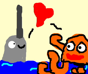 Narwhal and orange octopus fall in love.