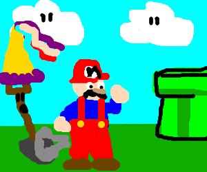 Mario farts on princess shovel