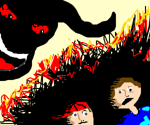 Devil laughing at two kids