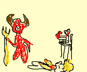 devil give her heart at the baby for eat