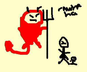 The devil punishes mother and child.