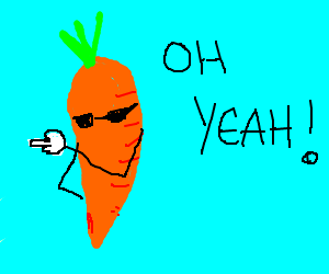 """Carrot going, """"Oh yeah!"""""""