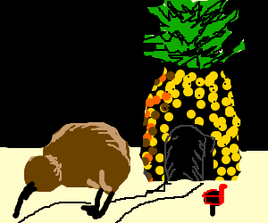 kiwi bird lives in a pineapple