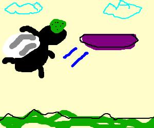 Bug-eyed athlete flings frisbee