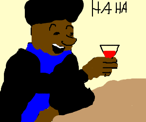 Afro dude laughs about something