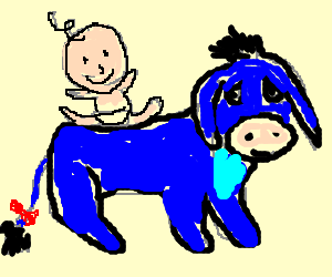 baby riding Eeyore