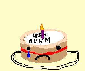 Sad birthday cake