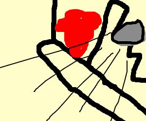 bloody window gets hit by rock