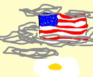Over easy eggs by a vague american flag