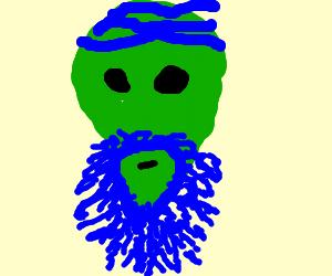 Alien with blue hair stroking his beard