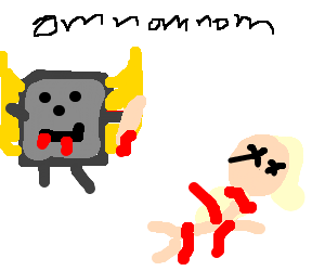 Gray toast angel eats his next human sacrifice.