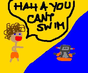big haired man mocks robot's swimming skills