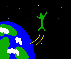 Green man gets away from earth