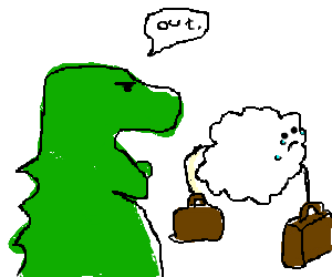 angry dinosaur tells tiny cloud to move