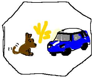 A Mini Cooper faces a dog in the octagon