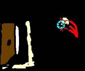 Detached eyeball uses telekinesis on door