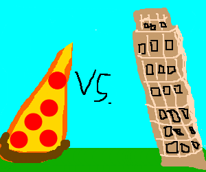 Leaning Tower of Piza vs Leaning Tower of Pizza