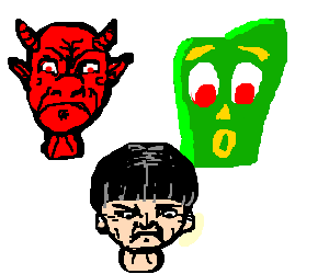 Head collection: Devil, Gumby, Moe