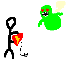 slimer loves guy holding electric heart