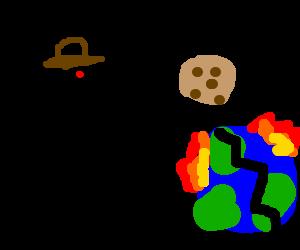 A happy cowboy destroys Earth w a giant cookie