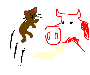 brown cat attempts to jump over red cow