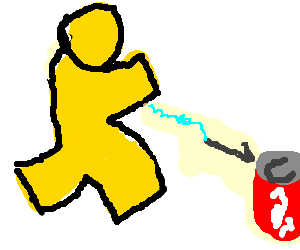 AIM icon guy finds a harpoon that gives him soda