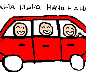 Three guys laughing in a car.