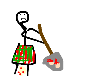 a kilt wearing stick man buries his balls